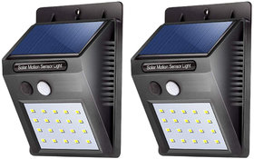 Gold Bourne Wall Mount Solar Light 20 Led Bright Outdoor Security Lights With Motion Sensor (Black) (Pack Of 2).