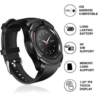RYLEN  V8 Bluetooth Smart Watch with Sim  TF Card Support for Android  iOS Mobile Phones (Black Color)