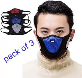 Pack Of 3 Rylen Multicolour M1 Anti Pollution Breathable Face Mask Assorted
