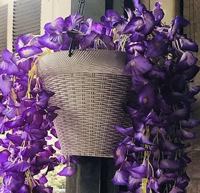 Cherry World Artificial Purple Flower Hanging Basket for decorations Home, balcony, Restaurant, Office, Gifts