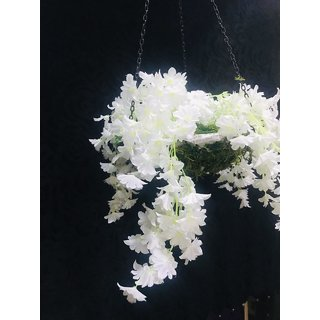 Cherry World Artificial  White Flower Hanging Basket for decorations Home, balcony, Restaurant, Office, Gifts