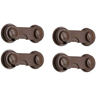 Kuhu Creations Kids Safety Hook Style Lock for Drawer Cabinet Furniture, (Brown 4 Units).