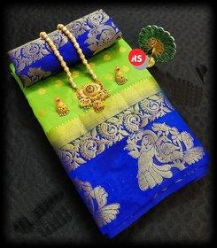 Meia Women's Kanjivaram Art Silk Saree Pure With Blouse Piece