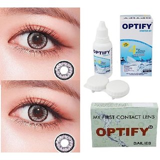 Optify Grey, Grey Monthly Colored Contact Lenses For Eye Men And Woman Monthly (Pack Of 2)
