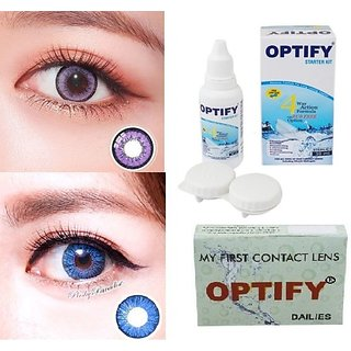 Optify Voilet, Sky Blue Monthly Colored Contact Lenses For Eye Men And Woman Monthly (Pack Of 2)