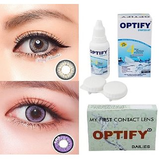Optify Dark Grey, Purple Monthly Colored Contact Lenses For Eye Men And Woman Monthly (Pack Of 2)