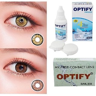 Optify Pure Hazel, Brown Monthly Colored Contact Lenses For Eye Men And Woman Monthly (Pack Of 2)