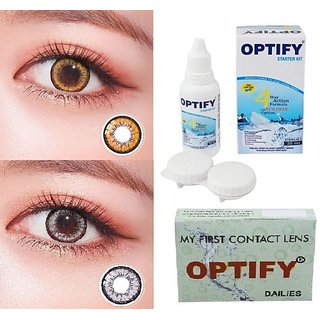 Optify Hazel, Grey Monthly Colored Contact Lenses For Eye Men And Woman Monthly (Pack Of 2)