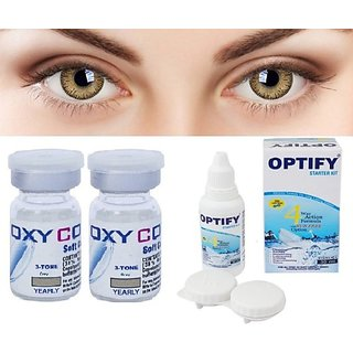 Optify Oxy Color Contact Lenses With Power Yearly Disposable & Contact Lens Solution Yearly (Pack Of 2)