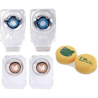 Optify Combo Colored Contact Lens Zero Power With Lens Case Monthly (Pack Of 3)