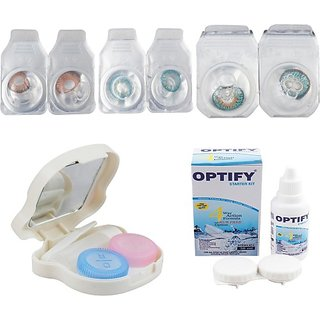 Optify Combo Pack Monthly Color Contact Lens With Travel Kit Monthly (Pack Of 3)