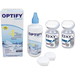 Optify Oxy Power Yearly Clear Disposable With Contact Lens Solution Yearly (Pack Of 2)