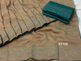 Meia Women's Sana Silk Saree Pure With Blouse Piece HotFix Stone Work