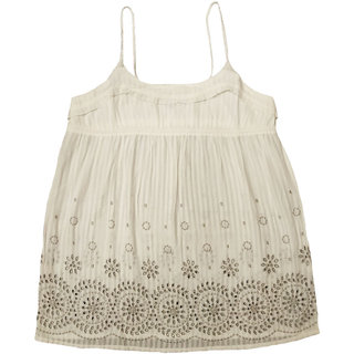 Girls White Top With Grey Shifley Embroidery