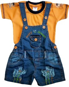 HIZUME INDIA Baby boys  girls Denim Dungaree with half sleeves printed T-shirt
