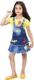 HIZUME INDIA Baby girls Denim Dungaree Dress Set with half sleeves printed T-shirt
