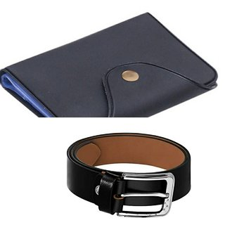 d mall  formal casual  black card holder &  belt for men( pack of 2 )46