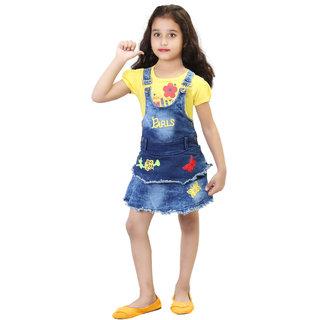 HIZUME INDIA Baby girls Denim Dungaree Dress Set with half sleeves printed T-shirt
