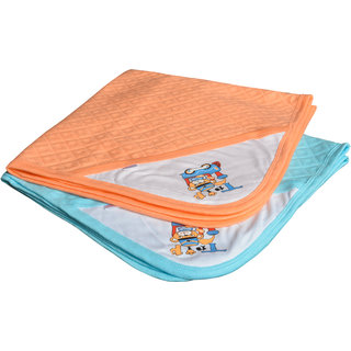 CATCUB Ultra Soft Cotton Baby Hooded Towel Combo - Pack of 2 (Blue & Orange) (CCT-01-03)