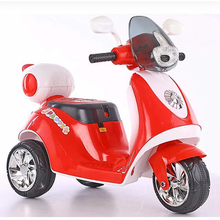 3-Wheel Special Battery Operated Ride On Scooty Scooter With Back Basket MusicHornHeadlights And 30 Kg Weight Capacity