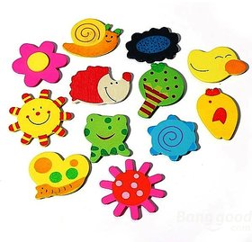 Kuhu Creations Supreme Fridge Magnet Wooden Stickers Cute and Beautiful. (Vivid Color Thin Shapes 12 Pcs).