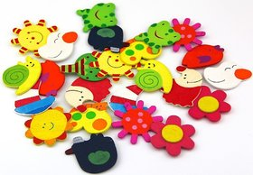 Kuhu Creations Supreme Fridge Magnet Wooden Stickers Cute and Beautiful. (Vivid Color Thin Shapes Mix 36 Pcs).