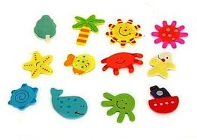 Neo Rising Fridge Magnet Wooden Stickers Cute and Beautiful. (Vivid Color Thin Shapes Mix 12 Pcs).