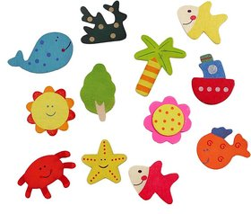 Neo Rising Fridge Magnet Wooden Stickers Cute and Beautiful. (Vivid Color Thin Shapes Mix 48 Pcs).