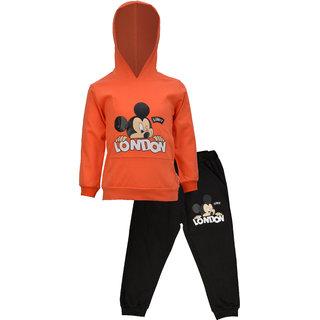 CATCUB Kids Hooded Mickey Mouse Combo Top & Pant Set (Orange)(CC-15-0S)