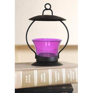 Heaven Decor  Purple Glass Tealight Candle holder (3.5 X3.5 X 5.3 Inch)