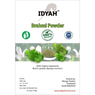 IDYAH Brahmi Powder, increases intelligence naturally, improve cognitive strength and memory