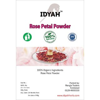 IDYAH Rose Petal Powder, For Skin care, Oil Control, Skin Toner, moistirizer, Glowing Skin  more
