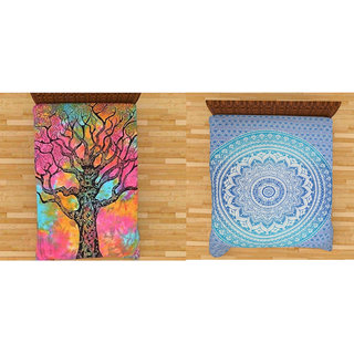 RRJAIPUR Combo Set of 2 Wall Hanging,Bedsheet,Room Dorm,Decoration Cotton Printed Tapestry (Size 84 x 54 inches)