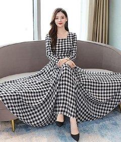 Raabta Fashion RWD-0031 Black And White Checks Maxi Dress