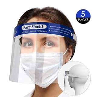 Kaltron Full Face Shield Protection Facial Guard Breathable Facial Sheilds for Men and Women,(Pack of 5)