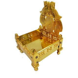 Beautiful Metal Golden Singhasan for God Idol for Car Dashboard and Home Decor-7x6x6 cm Small Size