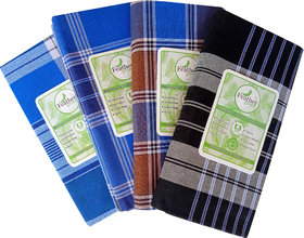 Pack of 4 Feathergreen Multicolor Lungis For Men