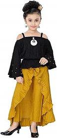 Clobay Yellow Girls Full Length Maxi Casual Dress