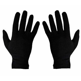 RNY Men's Cotton Hand Summer Gloves for Protection from Sun Burn/Heat/Pollution/Hand Sefety  (Black Free Size) 1 Pair