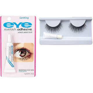 CartKing 3D Eyelashes with Glue Combo Set, Natural  Easy to Wear, Eyelashes Adhesive Included, Waterproof, Lashes Fixer