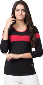 Round Neck 3/4 Sleeve Red Color Women Tshirt 5245Red