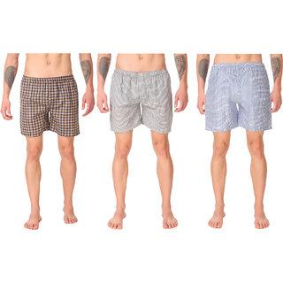 Ketex Men's Cotton Check Shorts Packof 3