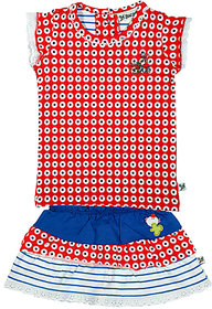 BUZZY Girl's Red Printed Combo Set (Top and skirt)