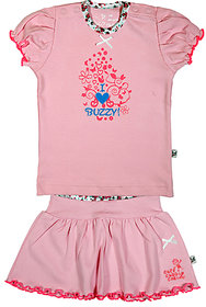 BUZZY Girl's Pink Printed Combo Set (Top and skirt)