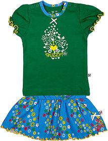 BUZZY Girl's Green Printed Combo Set (Top and skirt)