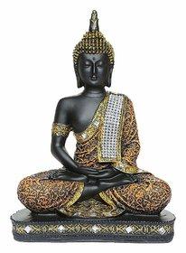 Sitting Buddha Idol Statue Showpiece Orange and Black 1Pc