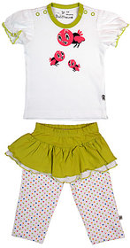 BUZZY Girl's Lime Combo Set (Top, Skirt and Legging)