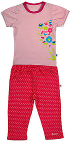 BUZZY Girl's Pink Combo Set (Top and Legging)