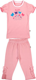 BUZZY Girl's Pink Butterfly Print Combo Set (Top and Legging)