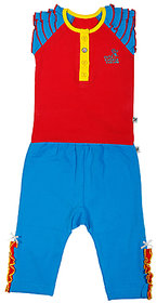 BUZZY Girl's Red Solid Combo Set (Top and Legging)